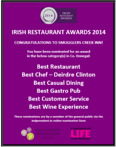 Smugglers Creek Nominations for Irish Restaurant Awards 2014