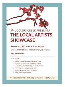 The Local Artists Showcase 10 March 2016